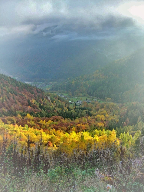 swiss valley in fall light and colour